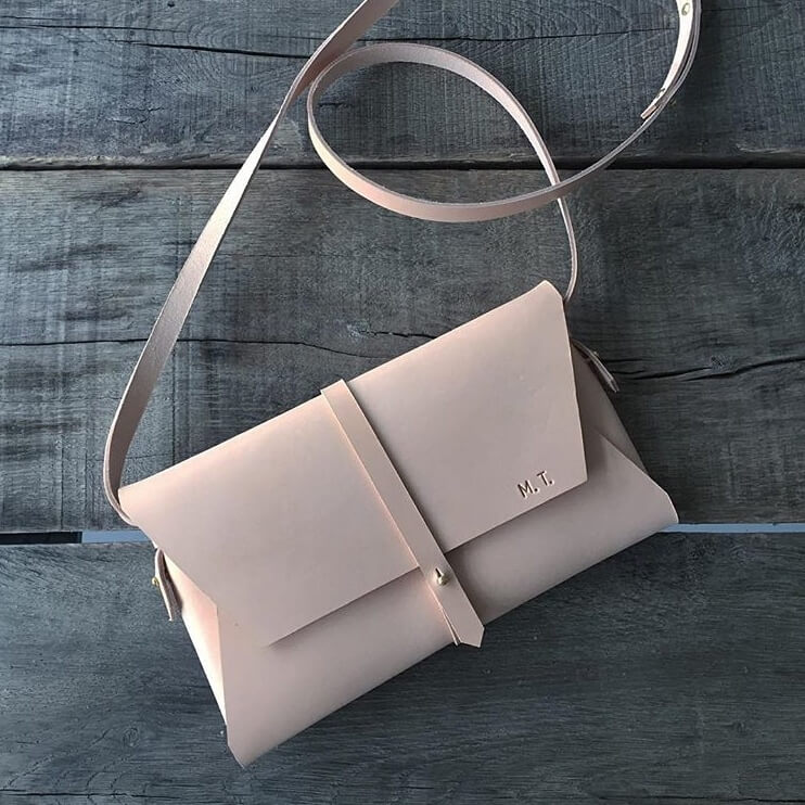 Natur Leather Clutch By Stolbjerg Copenhagen