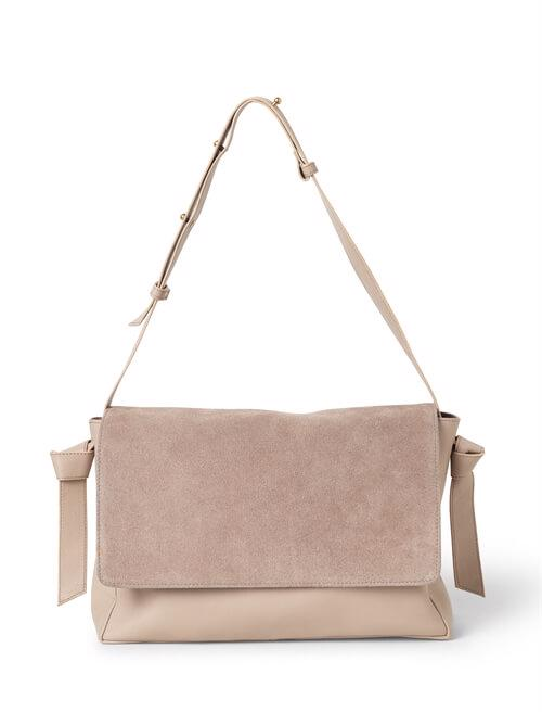 Shoulderbag <br /> Taupe dyed skin combined with suede