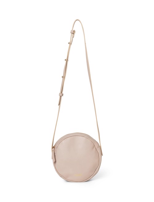 Shoulder bag - round <br /> Taupe dyed skin with brass details