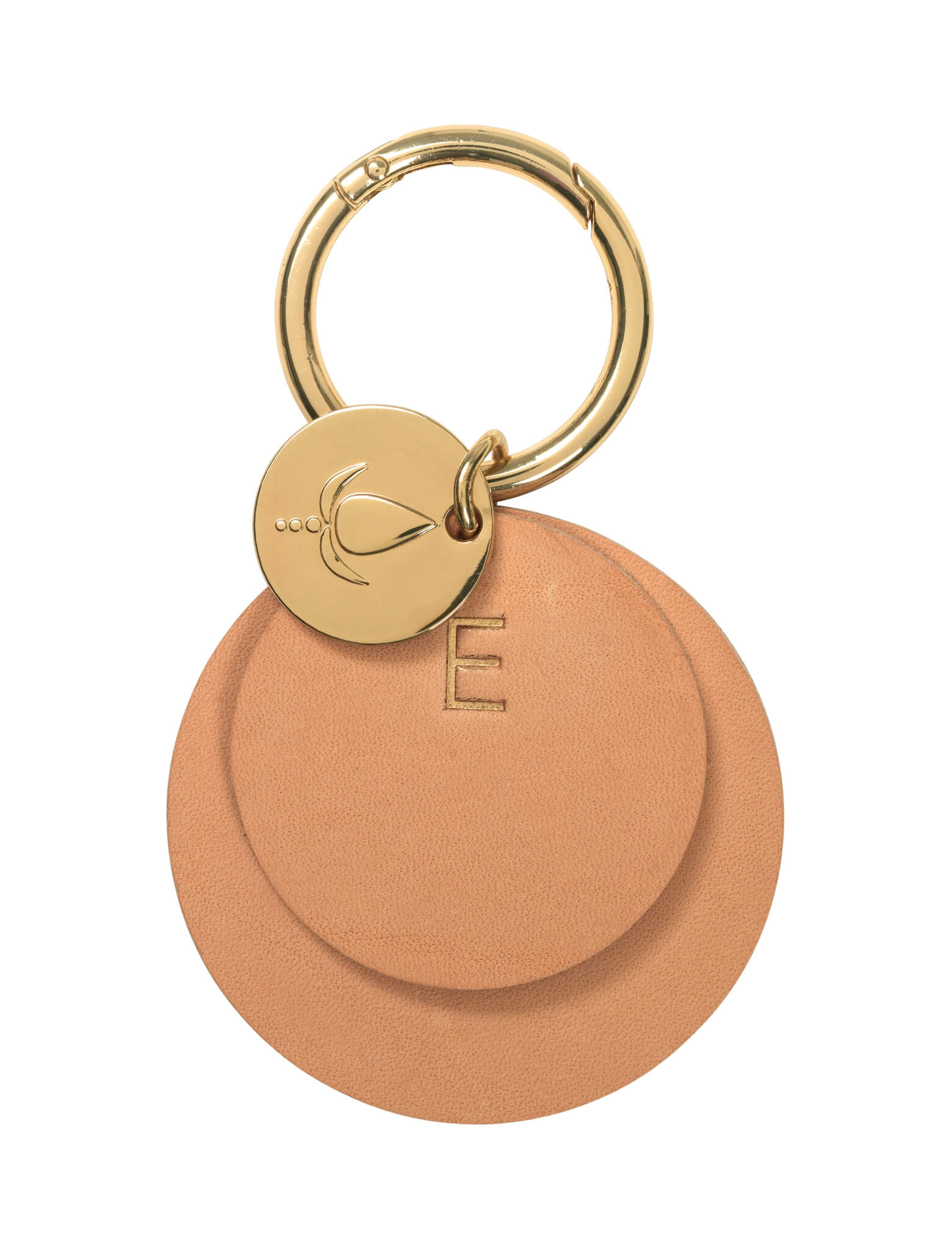 Key ring <br /> Nature/nature dyed leather with brass details