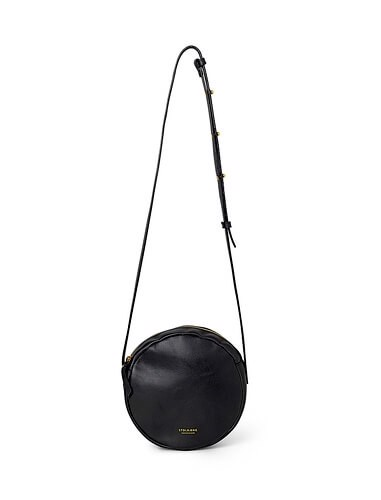 Shoulder bag - round <br /> Black skin with brass details