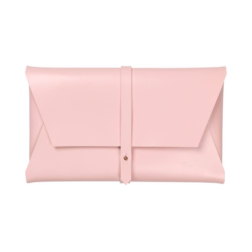 Clutch  <br /> Rose dyed leather with brass details