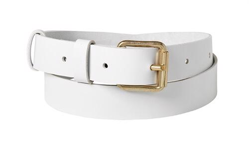 Classic leather belt  <br/>White leather with brass details