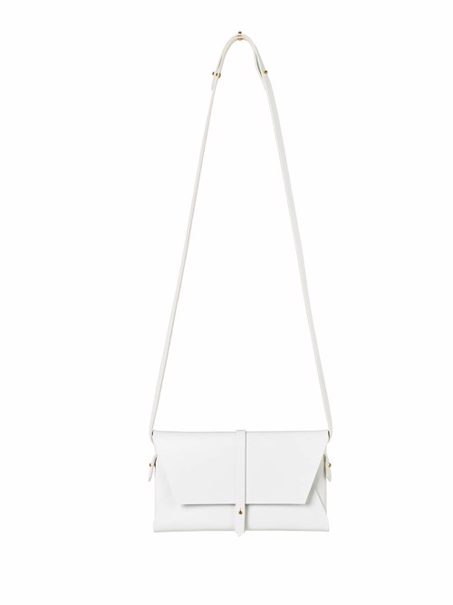 Shoulder Bag <br /> White dyed leather with brass details