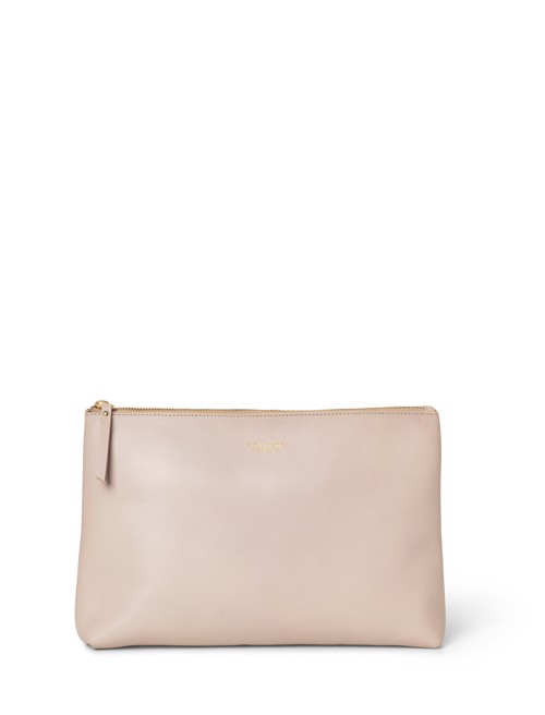 Hand bag - large <br /> Taupe dyed skin with brass details