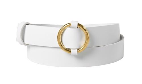 Ring leather belt <br/>White leather with brass details