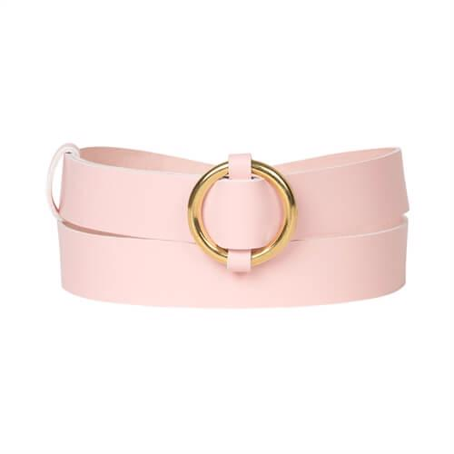 Belt <br /> Rose dyed leather with brass details and ring buckle