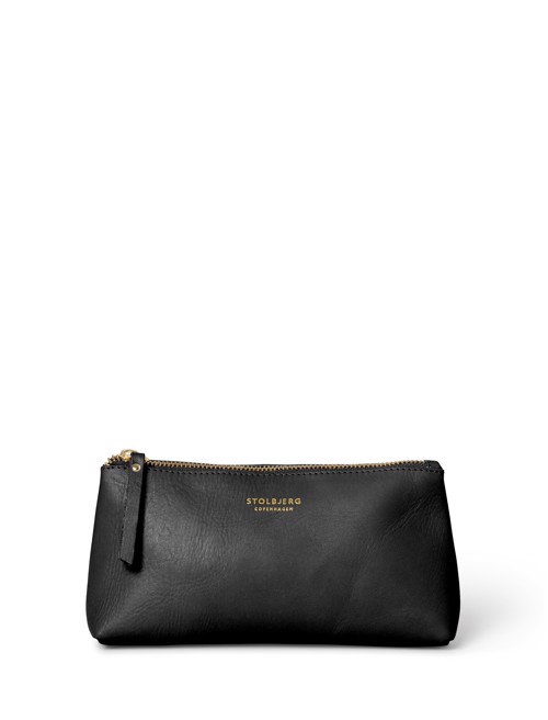 Hand bag - small <br /> Black skin with brass details