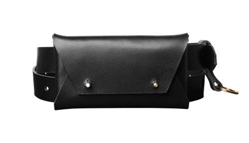 Leather belt bag <br/>Black leather with brass details
