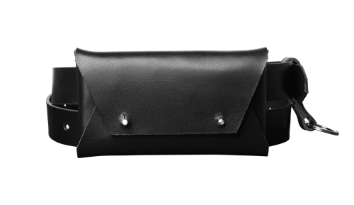 Belt <br/>Black leather with silver details and detachable wallet