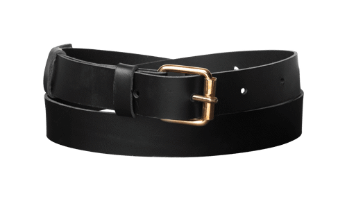 Classic leather belt  <br/>Black leather with brass details