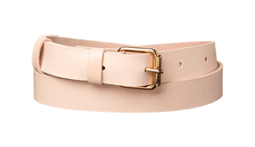 Classic Leather Belt <br /> Nature leather with brass details