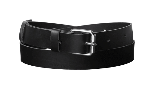 Classic leather belt  <br/>Black leather with silver details