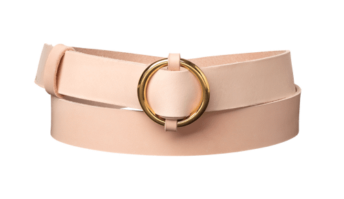 Ring Leather Belt <br /> Nature leather with brass details
