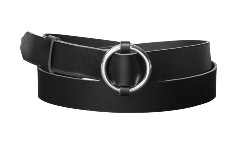 Ring leather belt <br/> Black leather with silver details