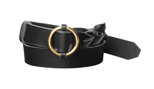 Twisted leather belt <br/>Black leather with brass details