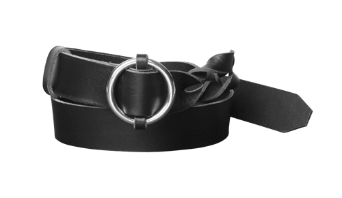 Belt <br /> Twisted black leather with silver details