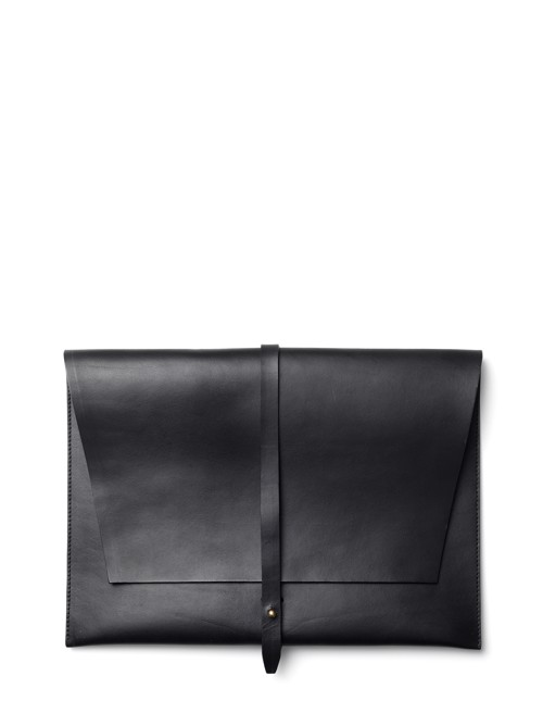 "Computer Sleeve 15"" <br /> Black leather with brass details"