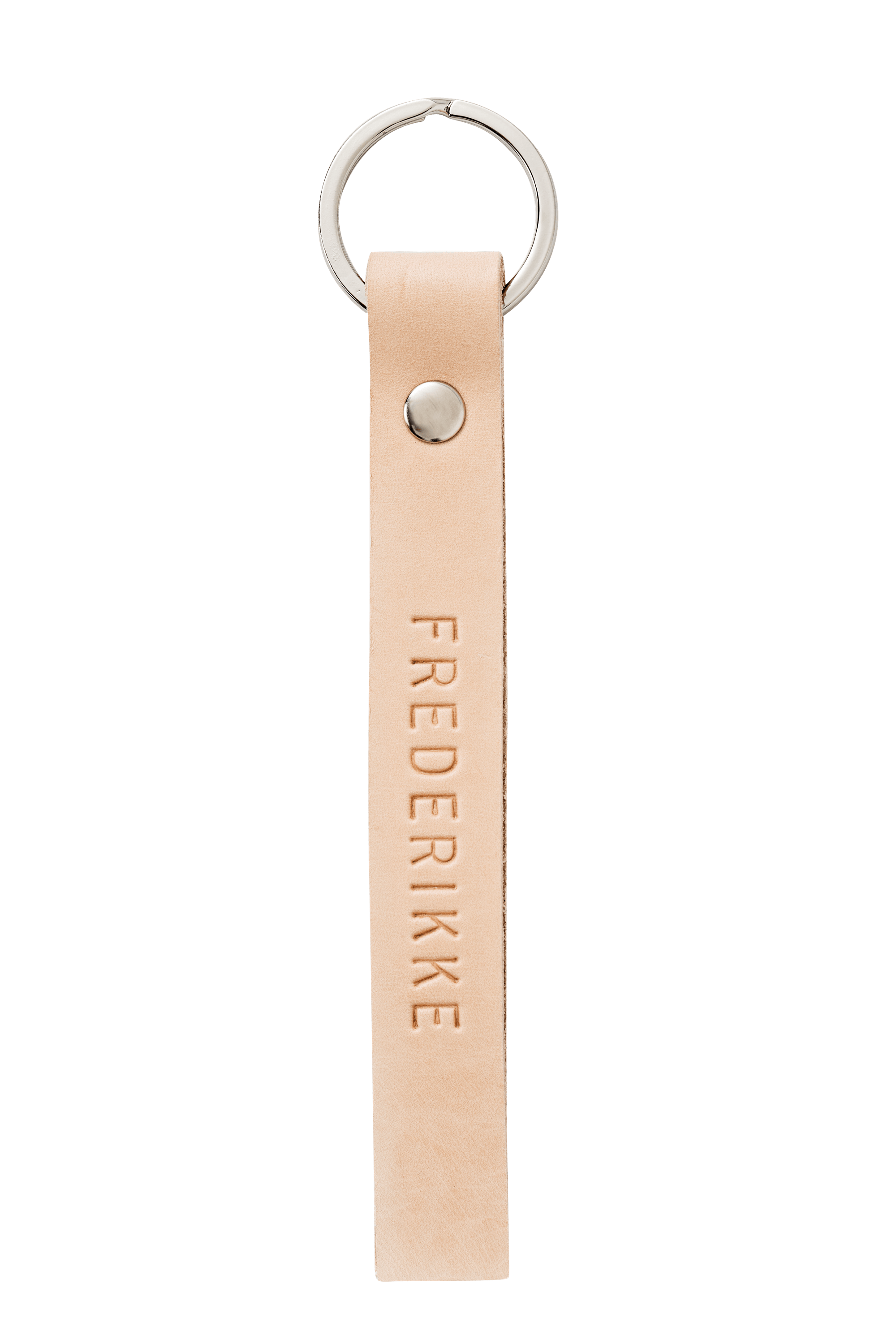 Key ring <br /> Nature dyed leather, silver details and nature print