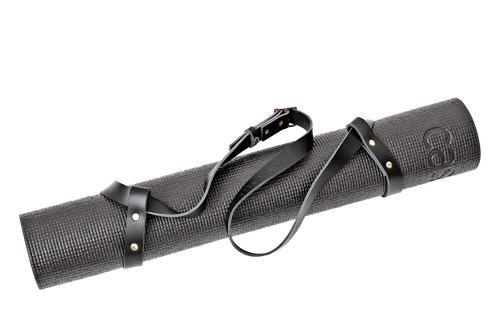 Strap for yogamat <br /> Black leather with brass details