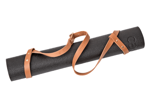 Namastay mat strap  •<br /> Cognac tanned leather with brass details