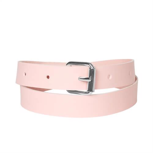 Belt < br/> Rose dyed leather with silver details