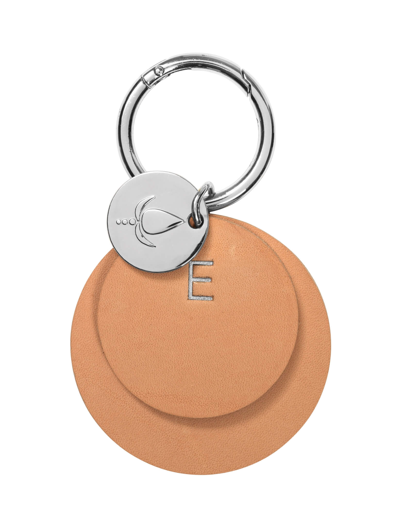Key ring <br /> Nature/nature dyed leather with silver details