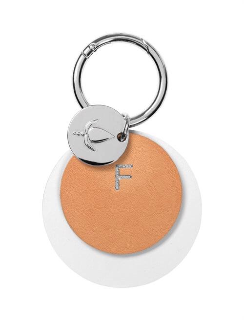 Key ring <br /> White/nature dyed leather with silver details