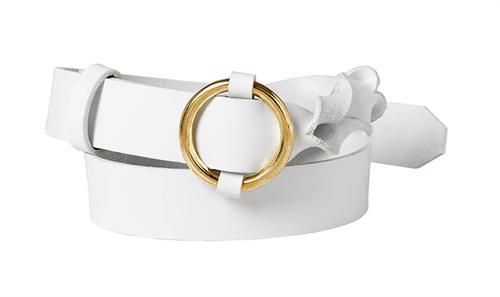 Twisted leather belt <br/>White leather with brass details